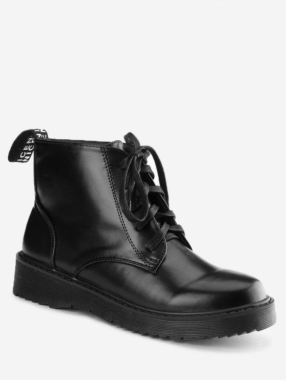 women Lace Up Faux Leather Boots - BLACK 38
