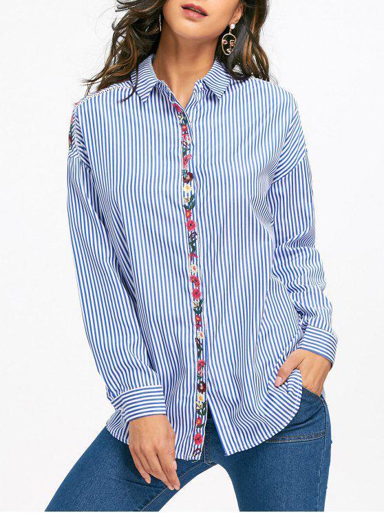 unique Floral Embroidered Drop Shoulder Striped Shirt - LIGHT BLUE S