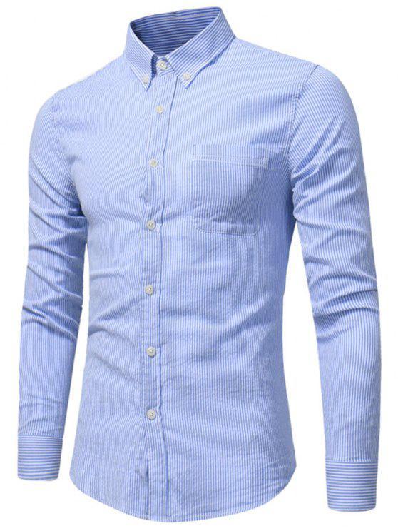 Camisa de listra de bolso de peito com botão para baixo - Azul 2XL