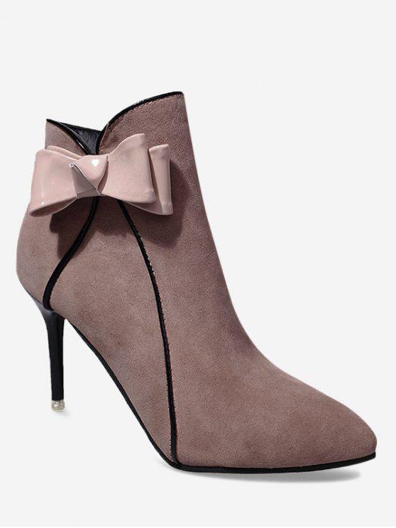 outfit Stiletto Heel Bow Ankle Boots - PAPAYA 39