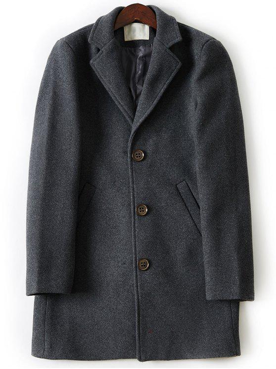 Manteau en Laine Long à Boutonnage Simple à Col Tailleur - gris foncé XL