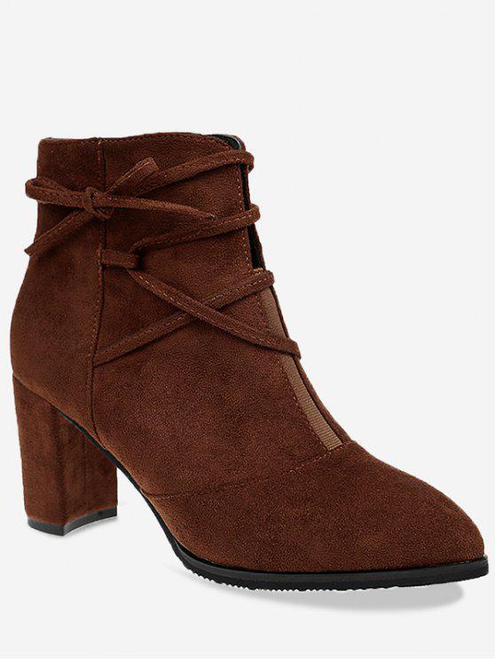 حذاء الكاحل مدبب من الأمام مربوط بشكل متقاطع - BROWN 39