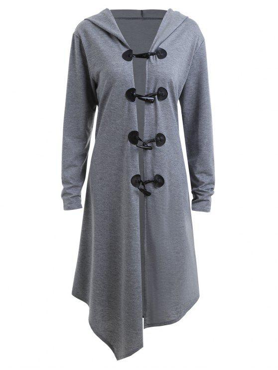 معطف الحجم الكبير زر طويل - اللون الرمادي XL