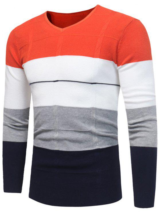 V Neck Color Block Jumper - Jacinto 3XL