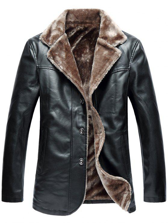 outfit Turndown Collar Single Breasted Fleece PU Leather Jacket - BLACK 2XL