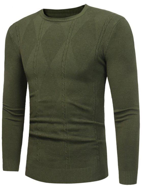 Rhombus Pattern Crew Neck Sweater - Exército verde 3XL