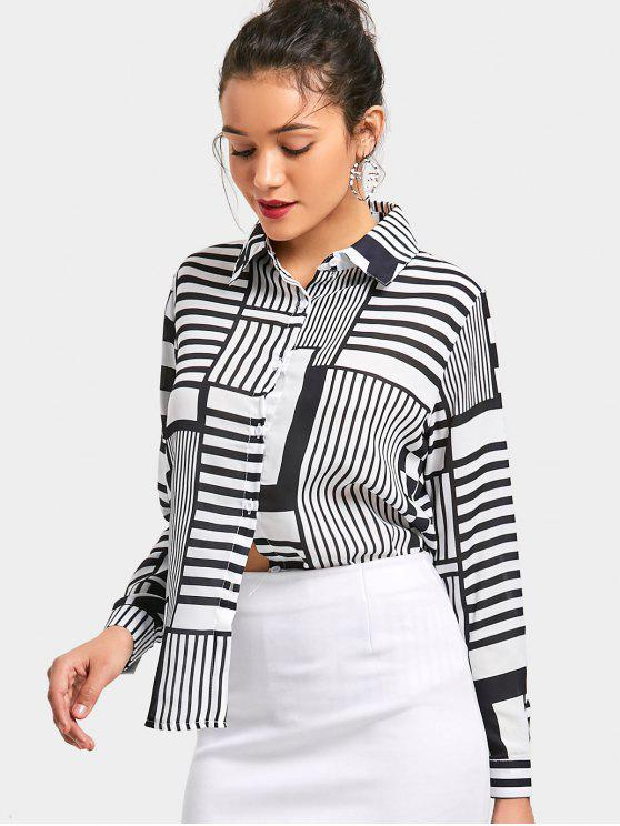 unique Striped Checked Button Up Shirt - WHITE AND BLACK ONE SIZE