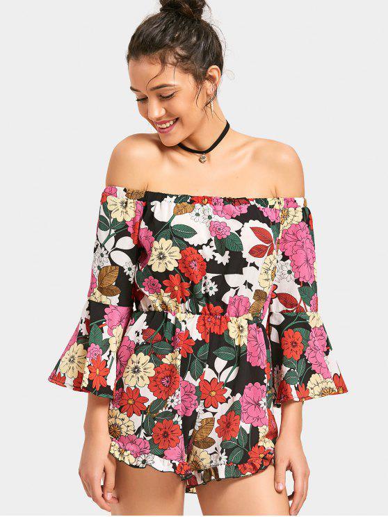 chic Off The Shoulder Flare Sleeve Flower Romper - FLORAL S