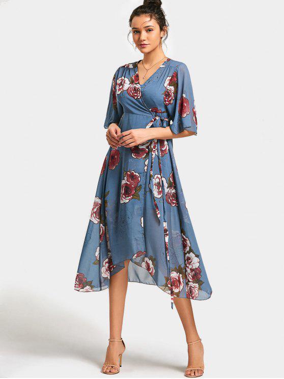 b1f5750f1 31% OFF  2019 Vestido Midi Floral Cintura Alta Manga Assimetrica Com ...