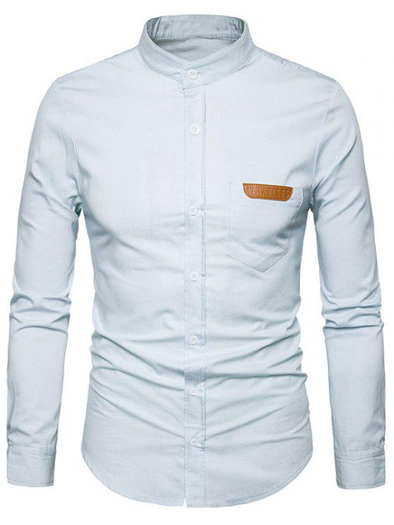 chic PU Leather Edging Chambray Shirt Men Clothes - WHITE XL