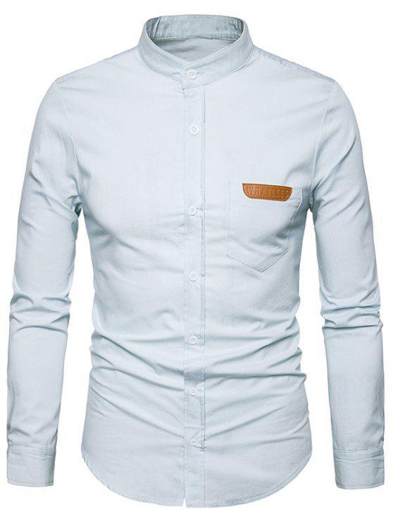 PU-Leder Einfassung Chambray Shirt Männer Kleidung - Weiß L