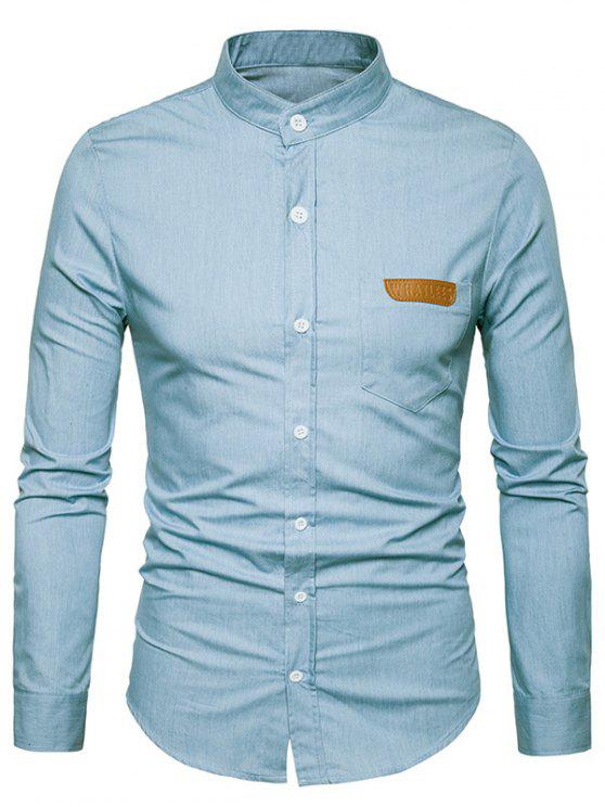 shops PU Leather Edging Chambray Shirt Men Clothes - LIGHT BLUE M