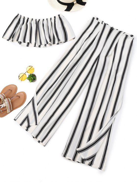 ladies Stripes Tube Top and High Slit Wide Leg Pants - STRIPE M