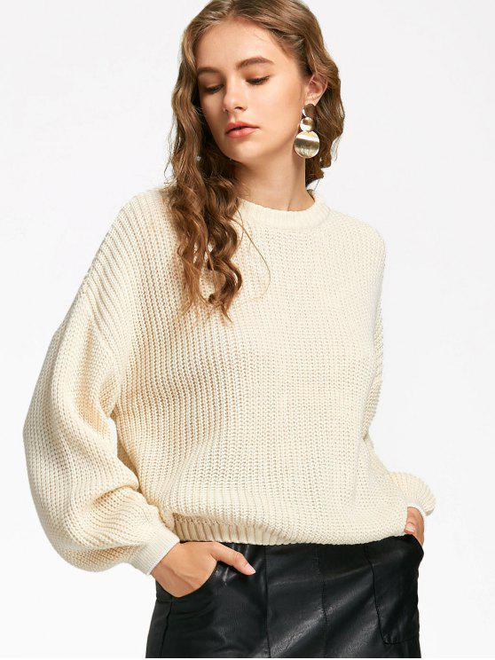 latest Oversized Lantern Sleeve Sweater - OFF-WHITE ONE SIZE