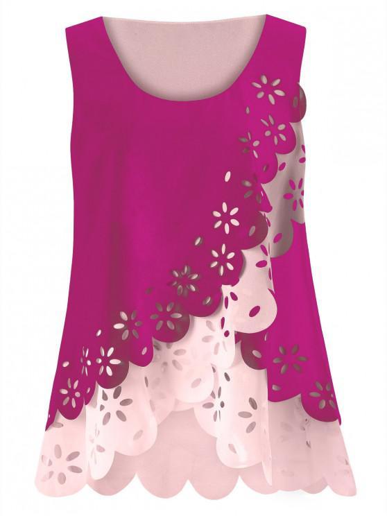 fashion Plus Size Hollow Out Scalloped Blouse - TUTTI_FRUTTI XL