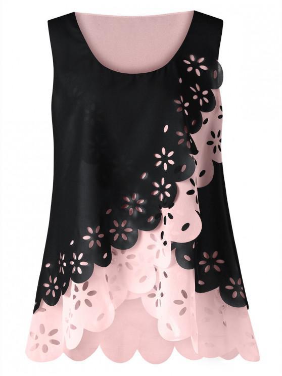 fashion Plus Size Hollow Out Scalloped Blouse - BLACK 3XL