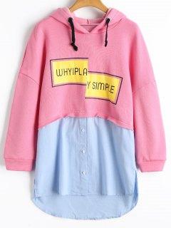 Letter Longline Color Block Hoodie - Pink S
