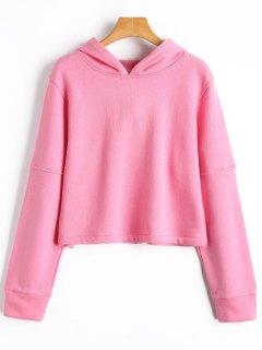 Fleece Cropped Hoodie - Pink L