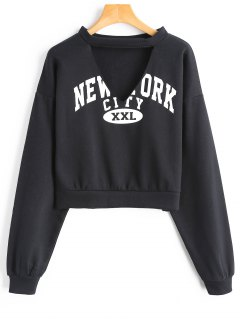 Fleece Cropped Graphic Choker Sweatshirt - Black L