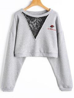 Crop Sweatshirt Mit Stickerei Und Spitze - Grau L