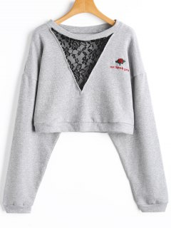 Embroidered Lace Panel Cropped Sweatshirt - Gray S