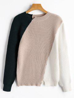 Slit Color Block Sweater - Apricot