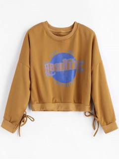 Graphic Tied Cropped Sweatshirt - Brown L