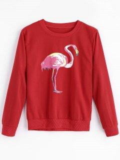 Flamingo Print Crew Neck Sweatshirt - Red Xl