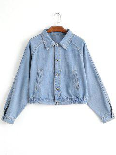 Batwing Sleeve Embroidered Denim Jacket - Denim Blue