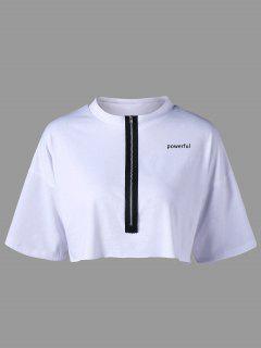 T-shirt Court Zippé à Lettre - Blanc S