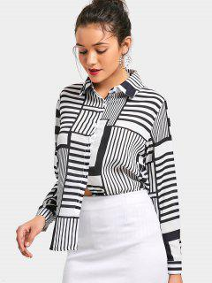 Striped Checked Button Up Shirt - White And Black