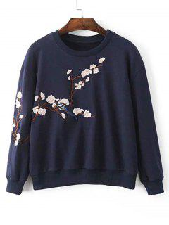 Drop Shoulder Plum Blossom Embroidered Sweatshirt - Purplish Blue S