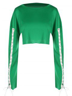 Contrasting Cropped Lace Up Sweatshirt - Green S