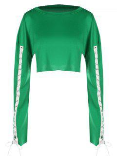 Kontrastierende Geerntete Schnüren Sich Oben Sweatshirt - Grün S
