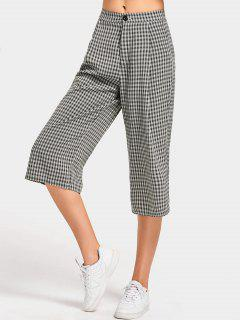 High Waist Checked Capri Pants - Checked M