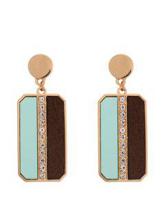 Rhinestone Geometric Wood Drop Earrings - Golden