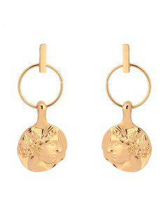 Circle Design Alloy Face Earrings - Golden