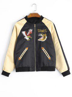 Zipper Embroidered Souvenir Jacket - Black S