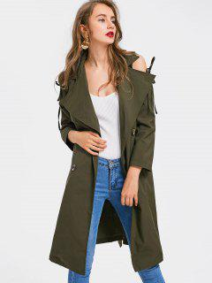 Double-breasted Belted Cold Shoulder Trench Coat - Army Green S