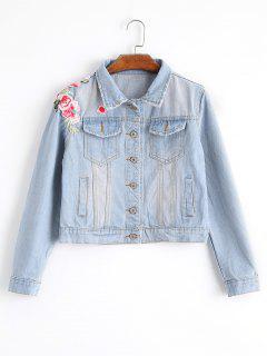 Light Wash Applique Denim Jacket - Light Blue M