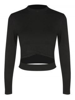 Cropped Cotton Cut Out Top - Black S