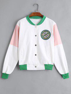 Patch Design Color Block Jacket - White S