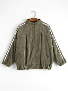Contrast Stripe Corduroy Jacket - Army Green M