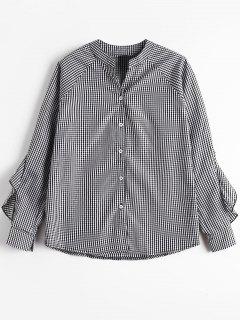 Button Up Ruffle Hem Checked Bluse - Kariert