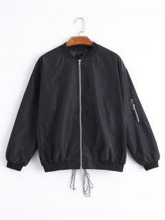Back Lace Up Letter Bomber Jacket - Black