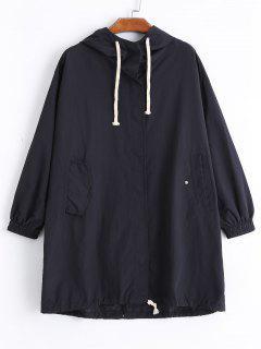 Hooded Embroidered Windbreak Coat - Black M
