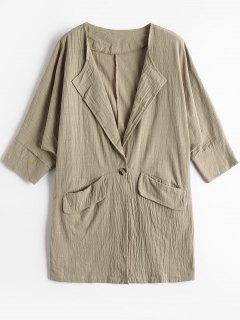 Ein Knopf Langlinie Bluse Mit Taschen - Khaki