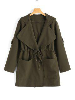 Hooded Belted Coat With Pockets - Army Green M