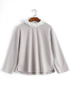Ruffle Collar Fleeced Top - Light Gray