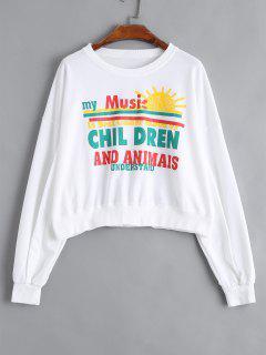 Graphic Printed Pullover Sweatshirt - Weiß